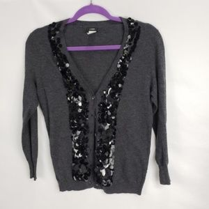 J. Crew Gray Black Sequin Petals Trim Cardigan